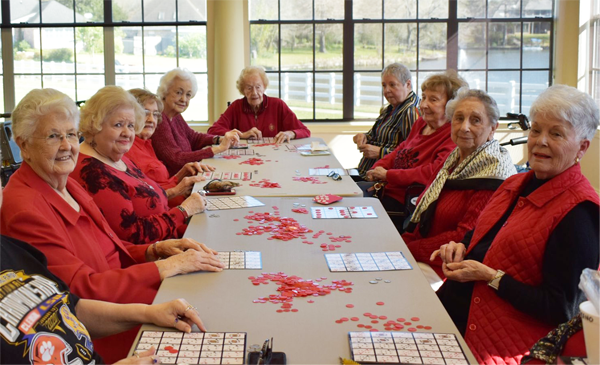 Ladies at table playing bingo